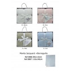 MANTA JACQUARD Y BORREGUILLO 80X110 CM 201100886